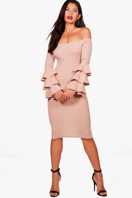 Holly Off Shoulder Frill Hem Bodycon Dress