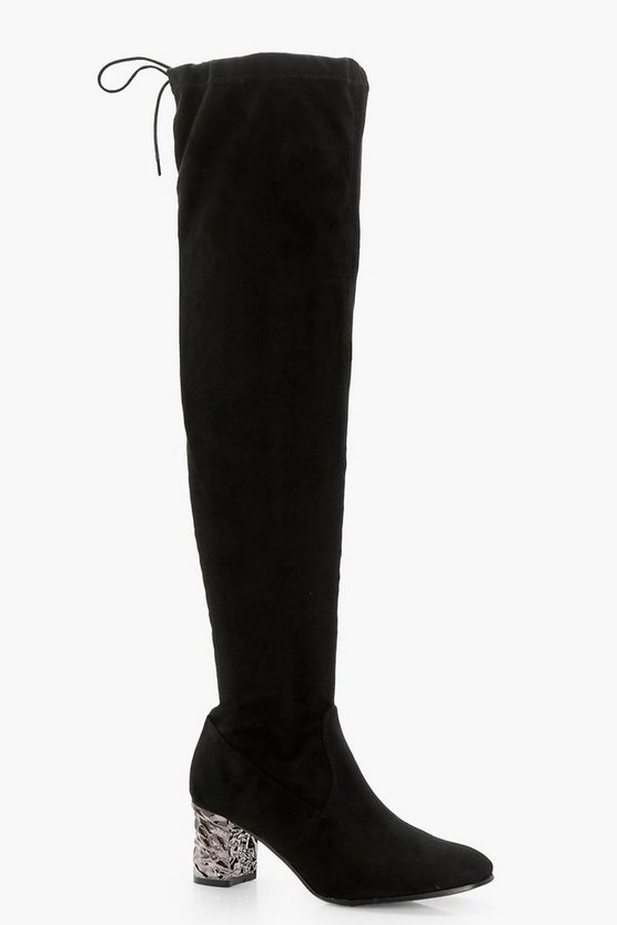 Mia Embellished Block Heel Over Knee Boots
