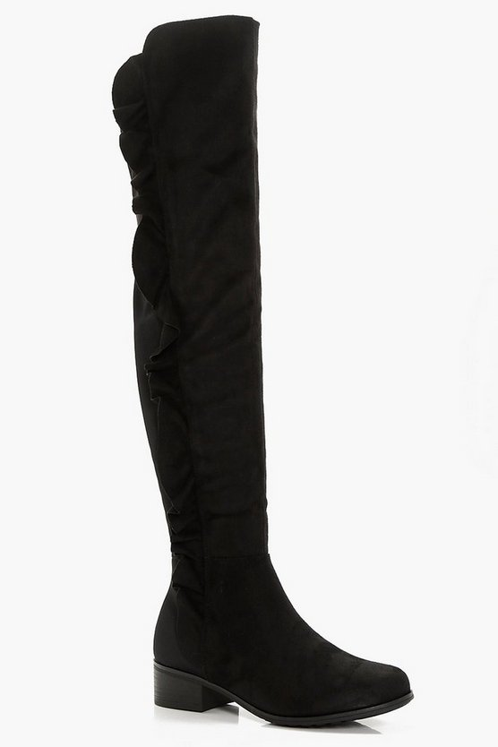 Lola Wide Fit Ripple Side Over Knee Boots