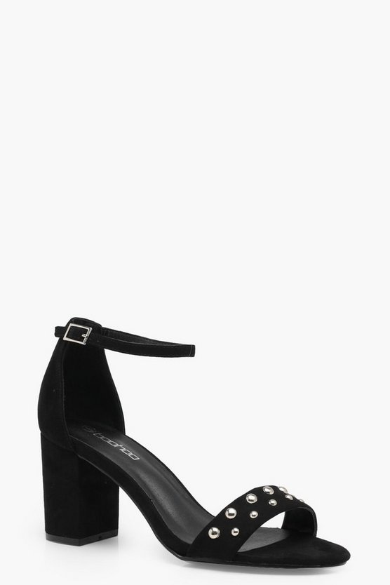 Joanie Wide Fit Stud Strap Block Heel