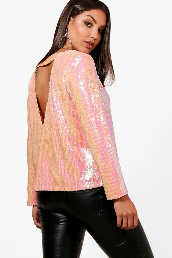 Nala Sequin Open Back Blouse