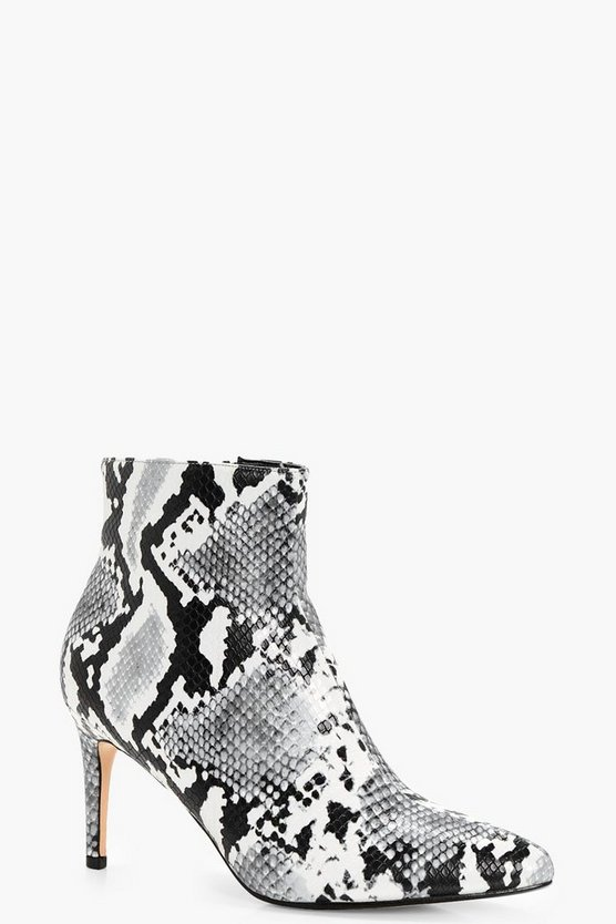 Hannah Pointed Toe Snake Print Shoe Boot