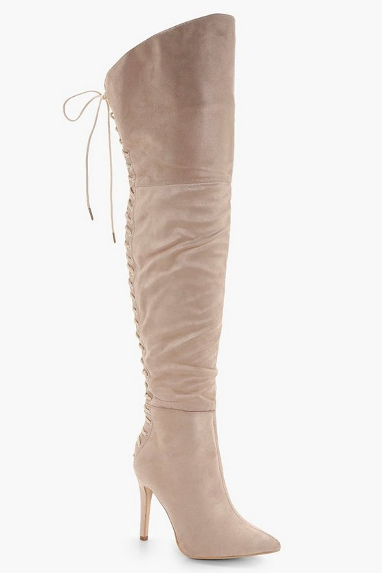 Sadie Lace Back Over the Knee Boots