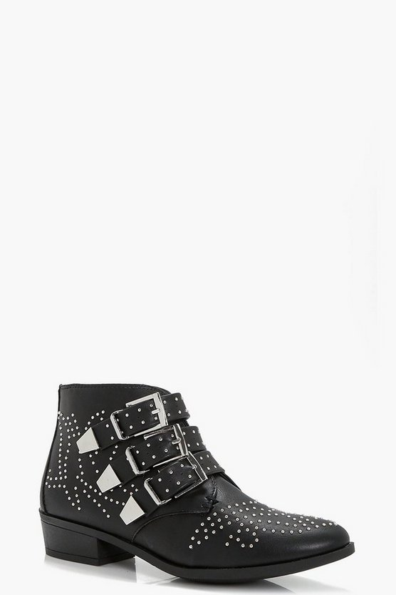 Lara Pin Stud and Buckle Strap Ankle Boots