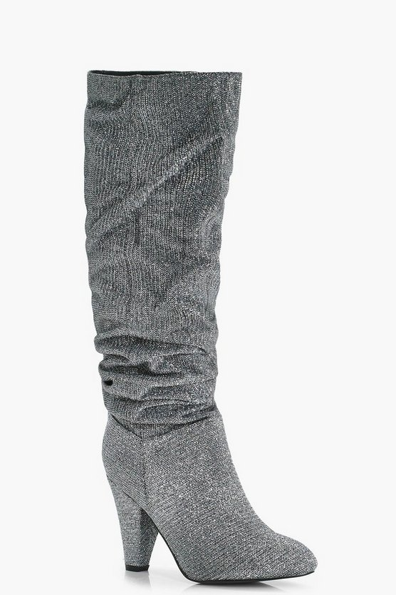 Louise Shimmer Ruched Knee High Boots