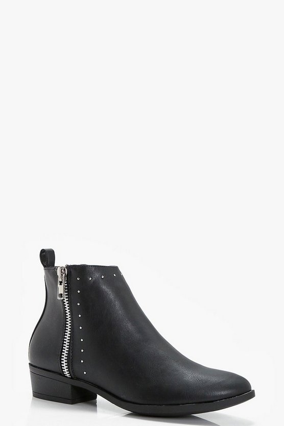 Nicole Pin Stud and Zip Ankle Boot