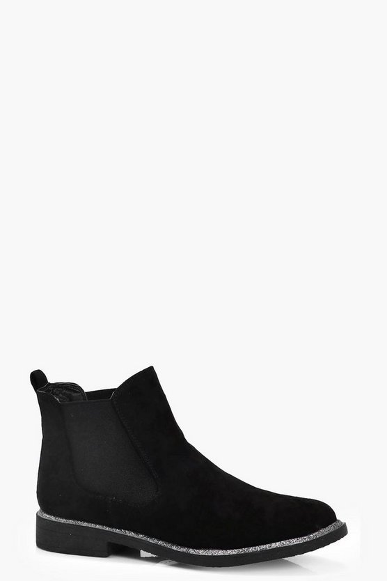 Niamh Glitter Trim Chelsea Boots