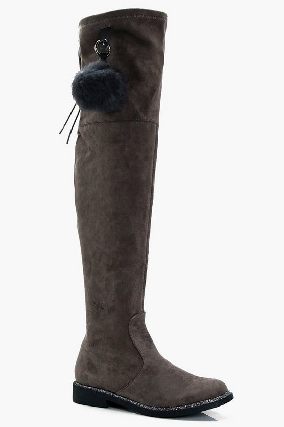 Olivia Glitter Trim Pom Detail Over the Knee Boot