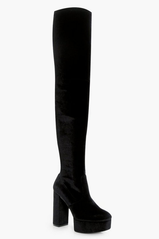 Velvet Stretch Platform Over The Knee Boots