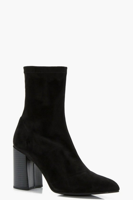 Isabella Pointed Toe Flare Heel Sock Boot