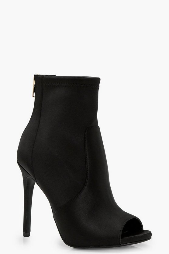 Nadia Peeptoe Satin Sock Boot