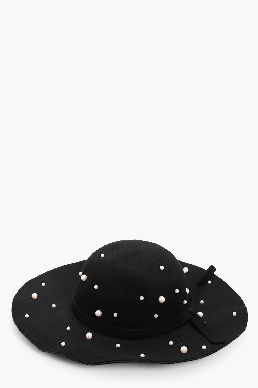 Pearl Embellished Fedora - black - Olivia Pearl Em