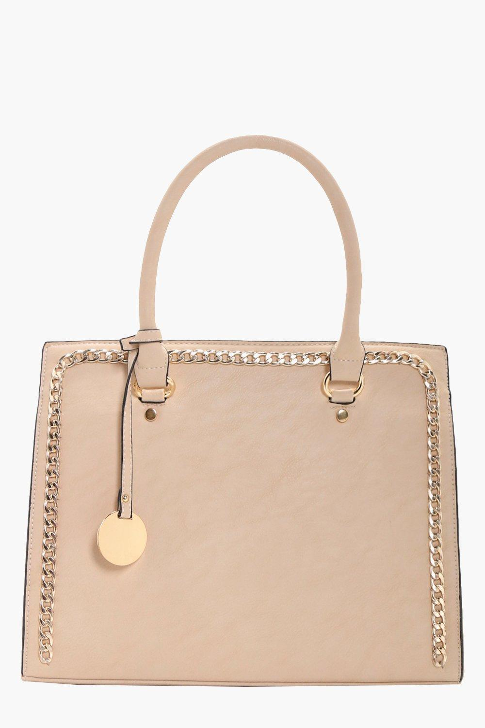 Chain Detail Tote - beige - Sophia Chain Detail To