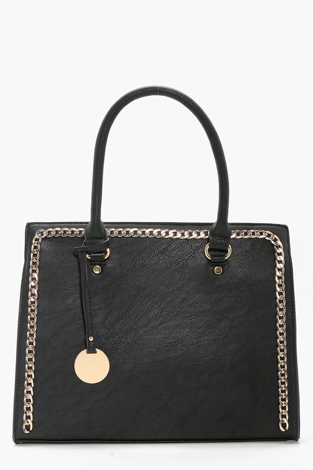 Chain Detail Tote - black - Sophia Chain Detail To