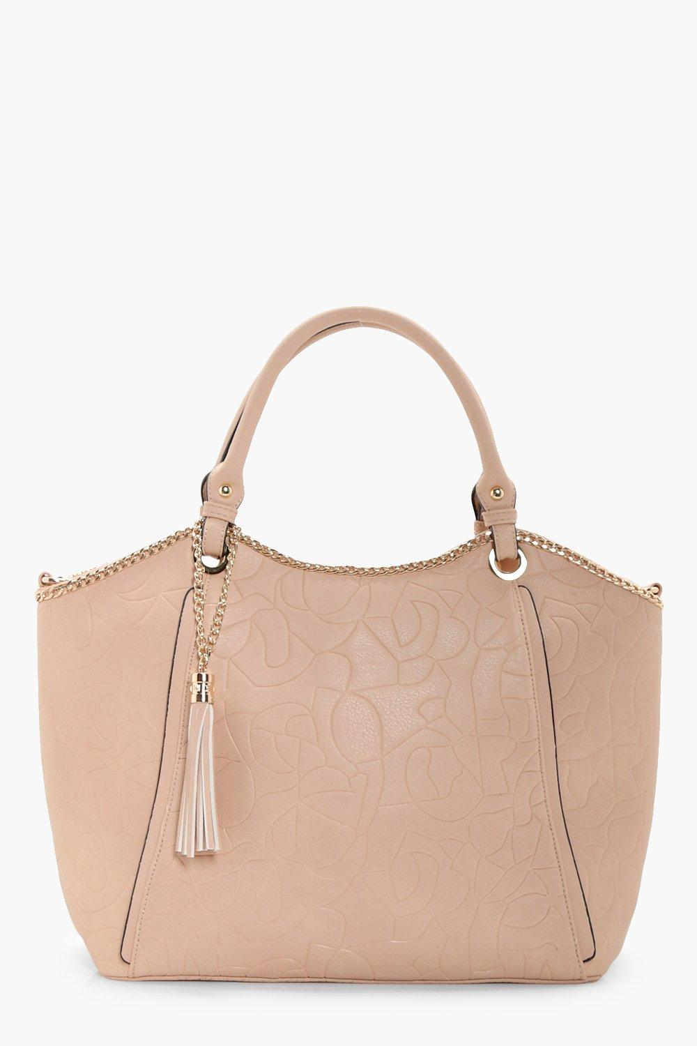 Chain And Tassel Tote - beige - Isla Chain And Tas