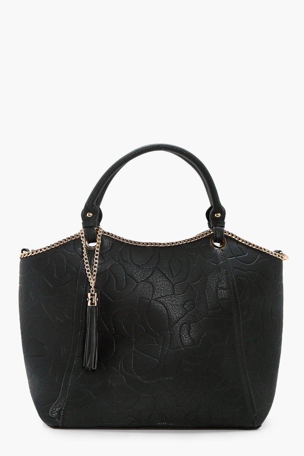 Chain And Tassel Tote - black - Isla Chain And Tas