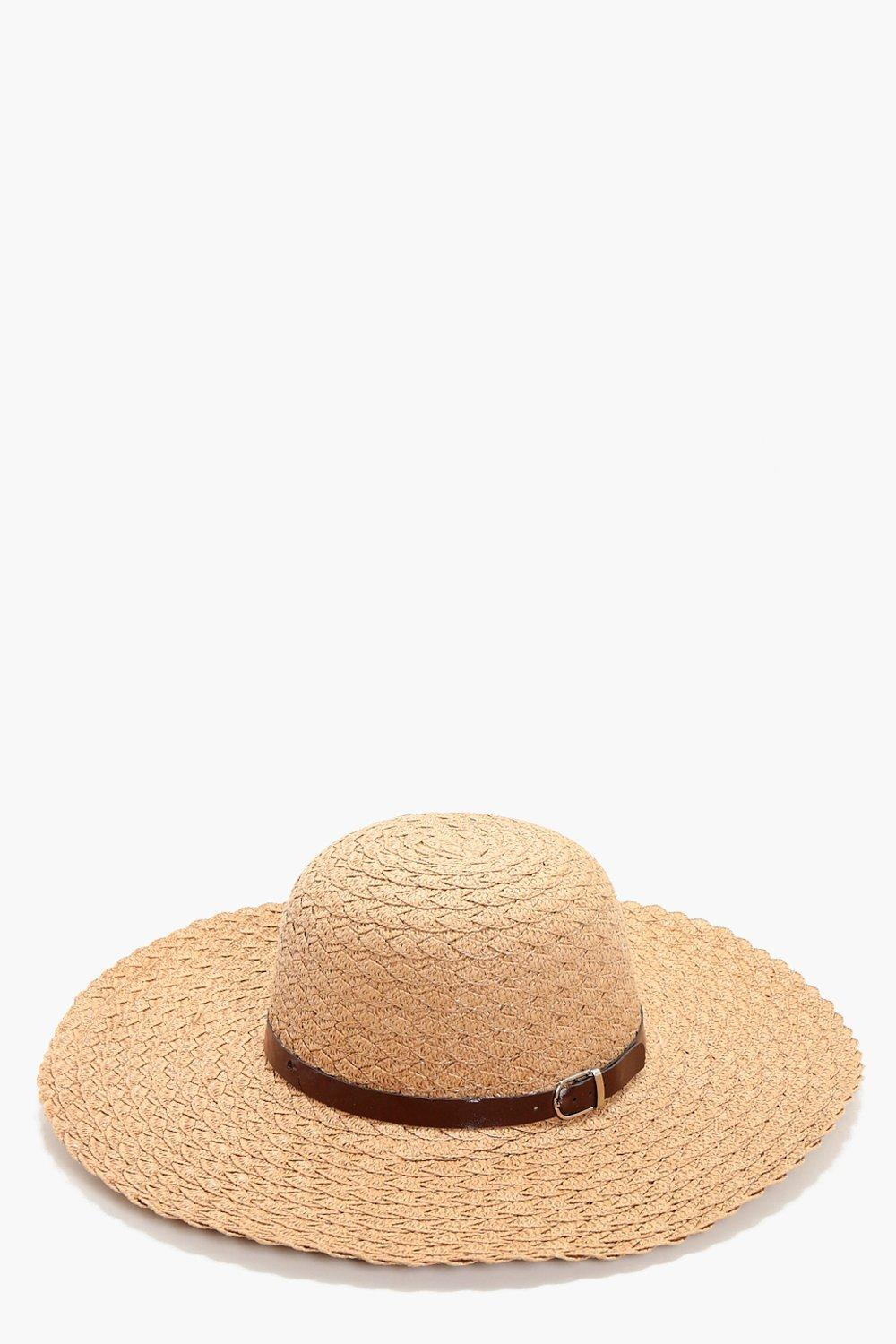 PU Trim Straw Floppy Hat - natural - Lily PU Trim