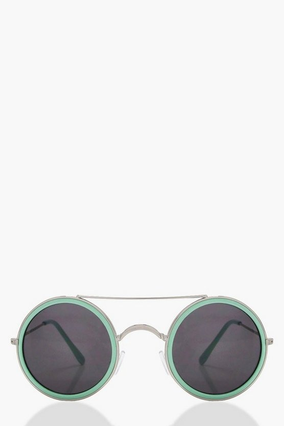 Freya Coloured Frame Round Sunglasses