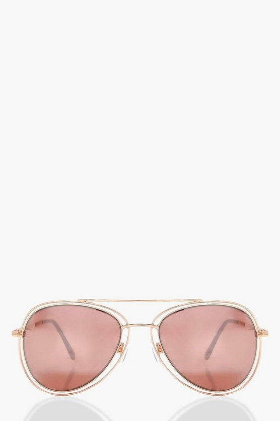 Hannah Retro Frame Aviator Sunglasses