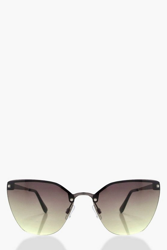 Pheobe Black Oversized Frameless Sunglasses