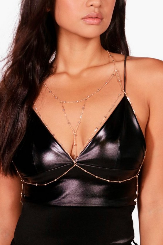 Leah Bead Detail Traingle Bralet Body Chain