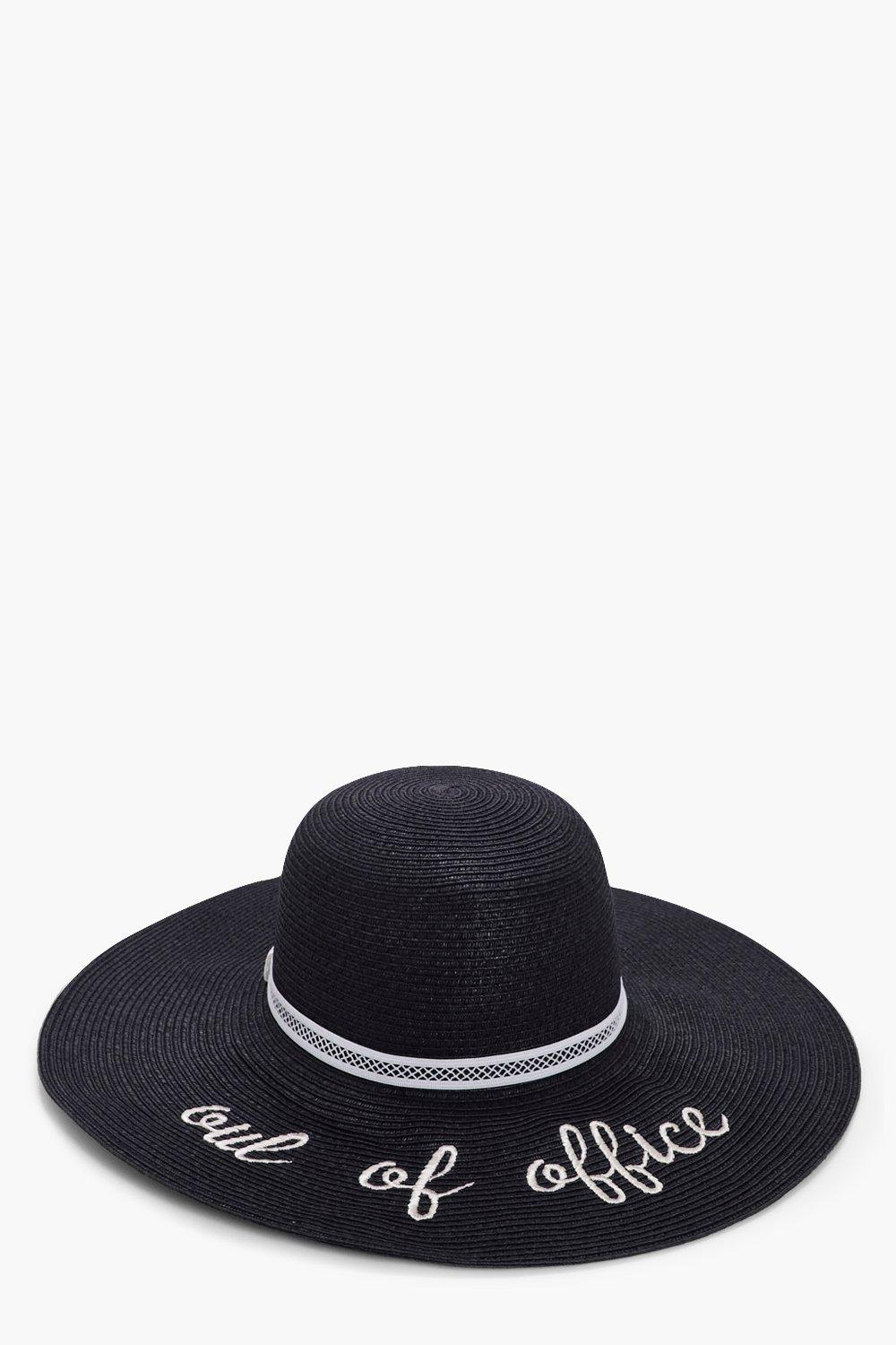 Out Of Office Straw Floppy Hat - black - Maya Out