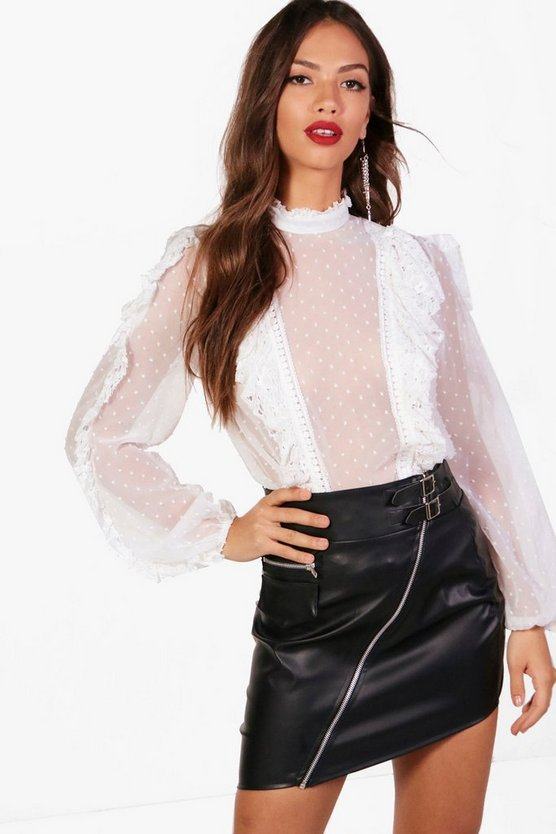 Kyra Spot Mesh Lace Ruffle High Neck Blouse