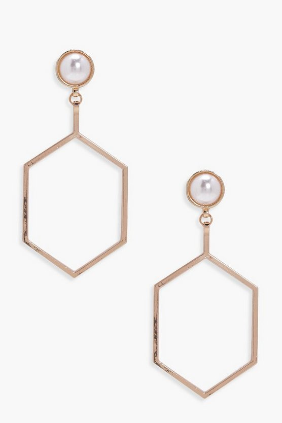Jessica Pearl Geo Hexagon Earrings