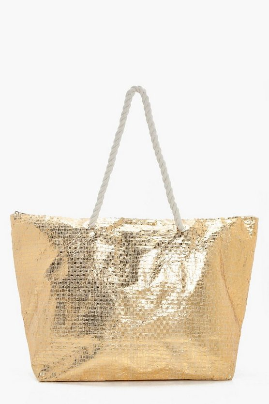 Ella Metallic Beach Bag