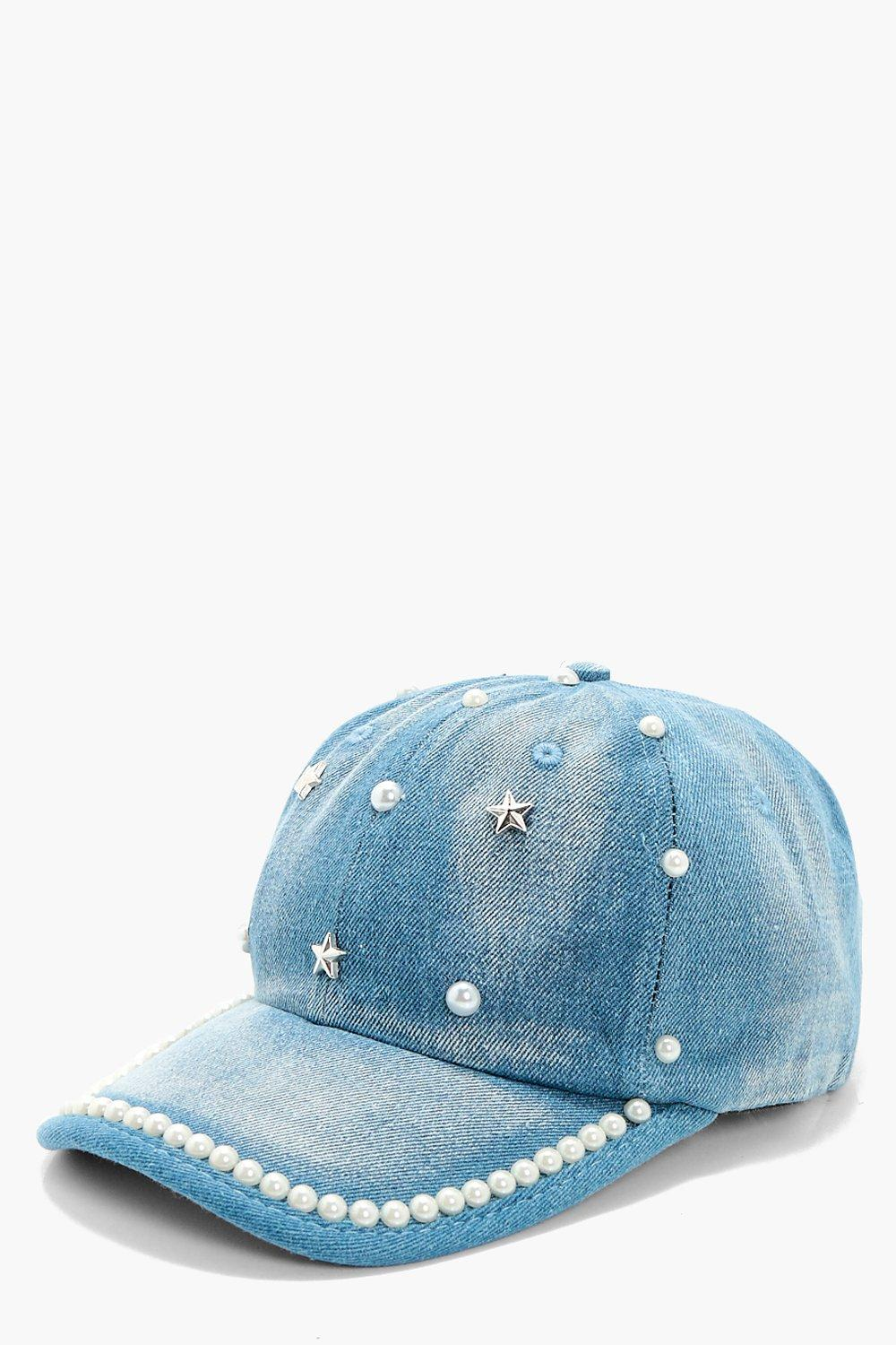 Pearl And Star Baseball Cap - blue - Bethany Pearl