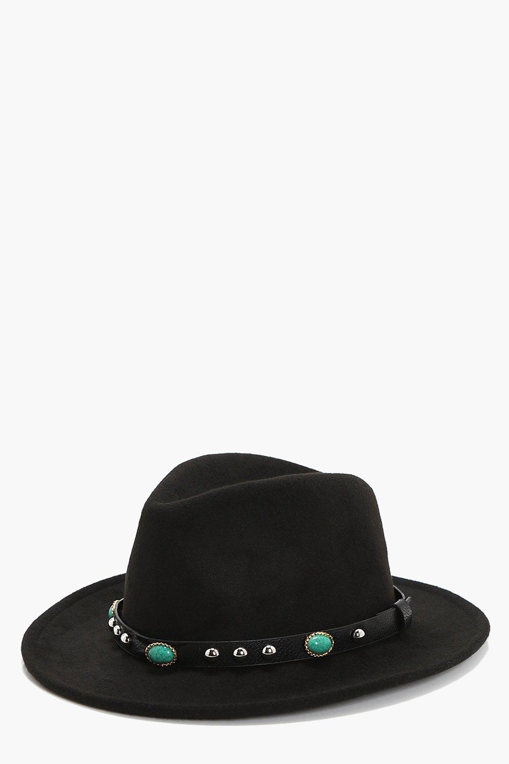 Stone And Stud Fedora Hat - black - Gracie Stone A