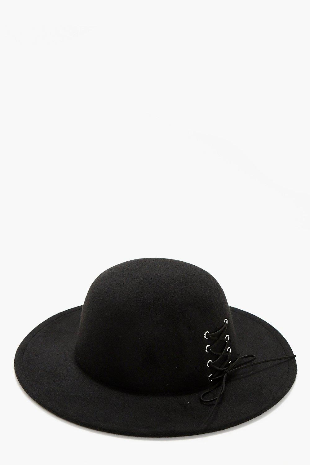 Lace Up Corset Floppy Hat - black - Erin Lace Up C