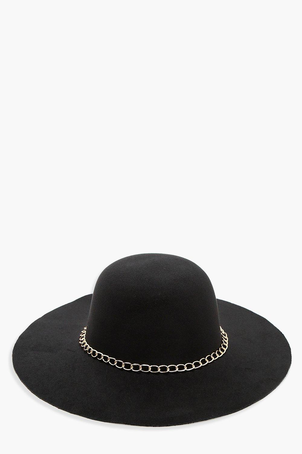 Chain Floppy Hat - black - Ellie Chain Floppy Hat