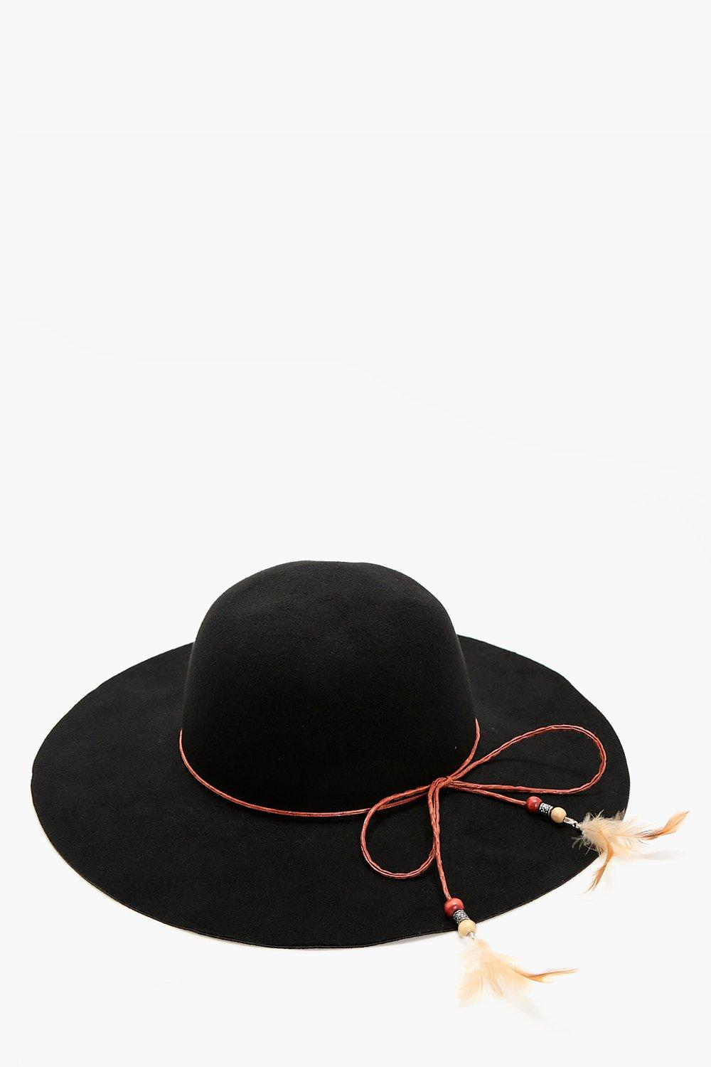 Feather Trim Floppy Hat - black - Alice Feather Tr
