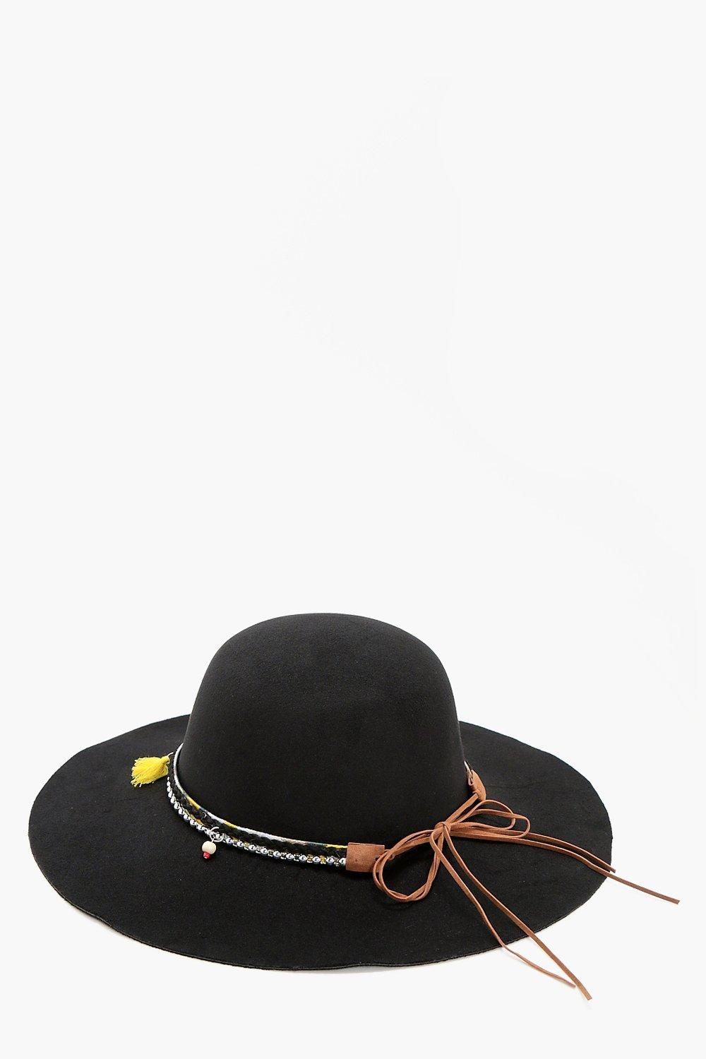 Bond And Chain Floppy Hat - black - Lucy Bond And