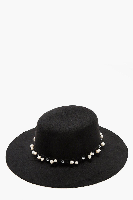 Pearl Felt Floppy Hat - black - Lily Pearl Felt Fl