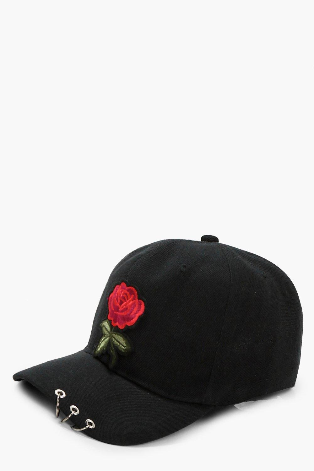 Rose Embroidery Cap - black - Maya Rose Embroidery