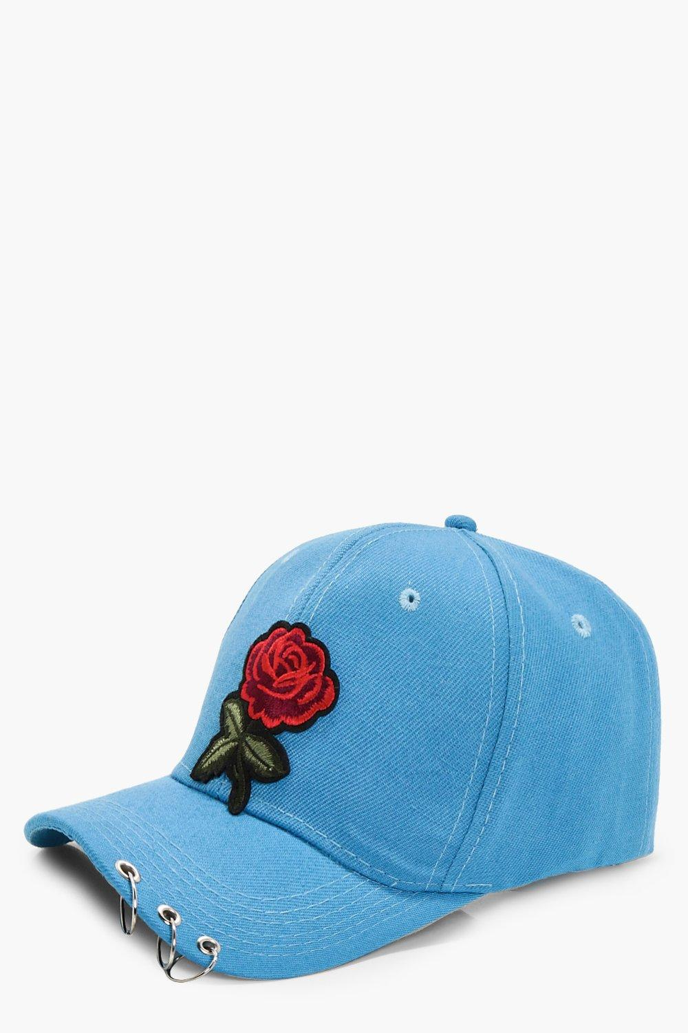 Rose Embroidery Cap - blue - Maya Rose Embroidery