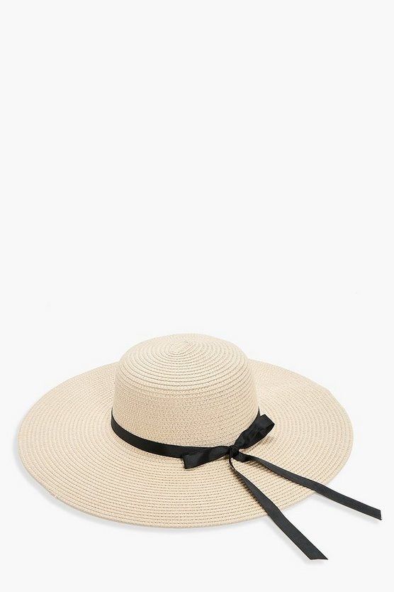 Evelyn Ribbon Straw Floppy Hat