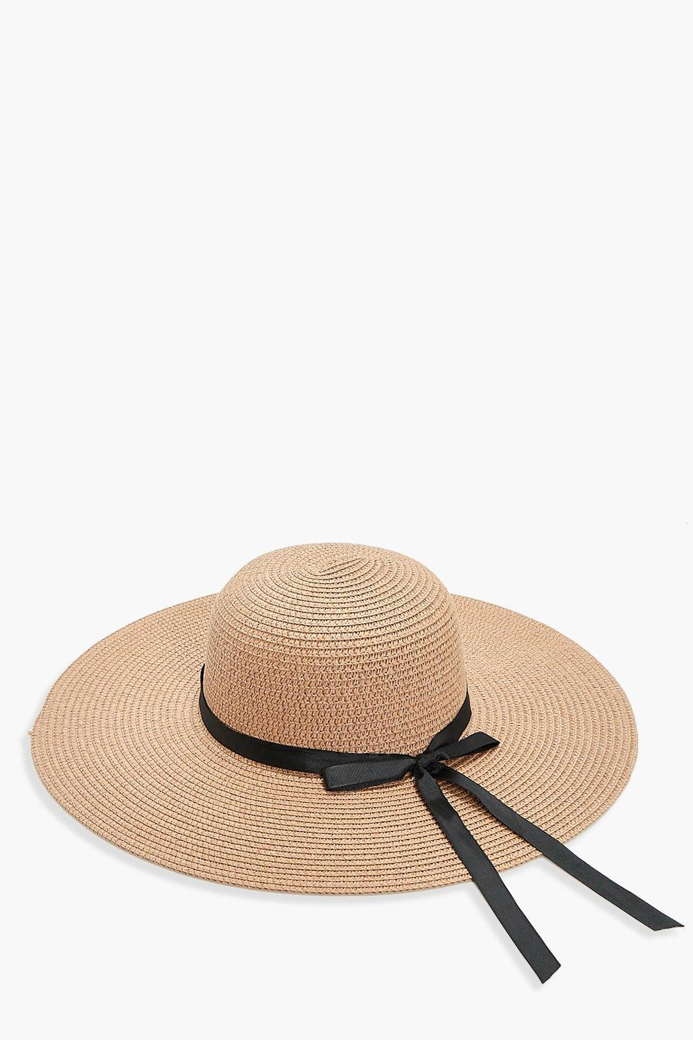 Ribbon Straw Floppy Hat - natural - Evelyn Ribbon