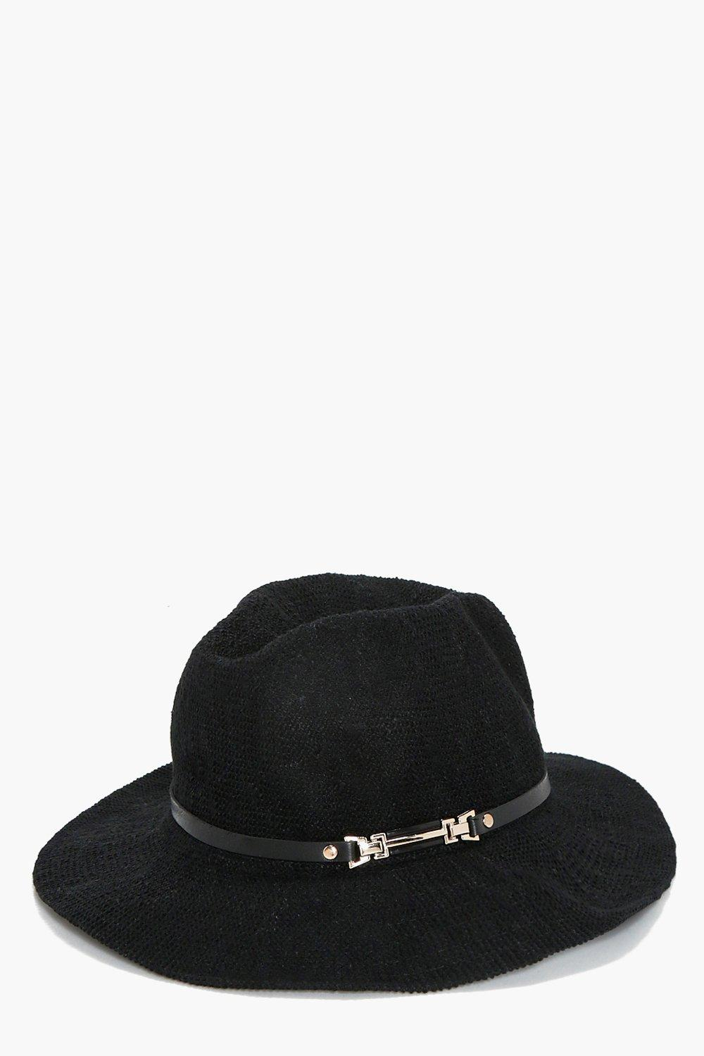 Metal Trim Fedora - black - Harriet Metal Trim Fed
