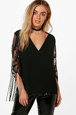 Effektspitze Bluse aus Spitze mit Fransen - Boohoo.com