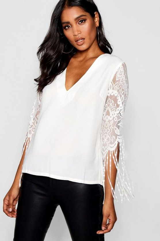 Eyelash Lace Tassel Blouse
