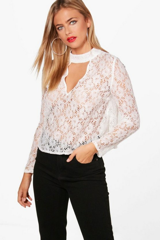 Aria Lace Choker Sleeve Blouse