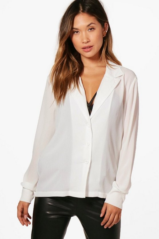 Chastity Sheer Plunge Revere Collar Shirt