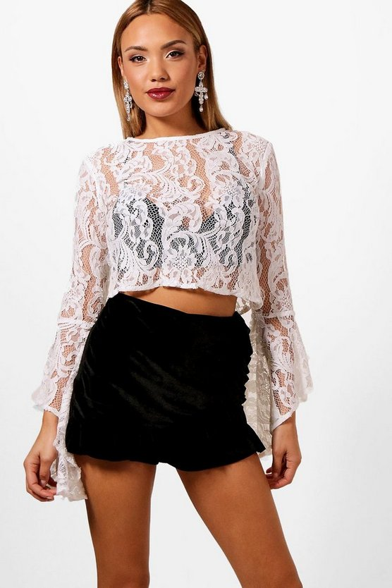Corded Lace Bell Sleeve Top