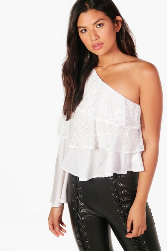 Nila Ruffle Lace One shoulder Top