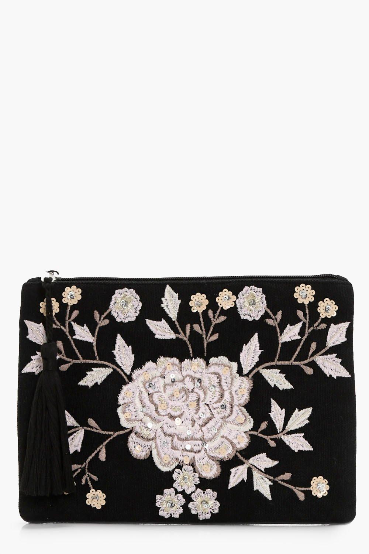 Floral & Sequin Zip Top Clutch - black - Amy Flora