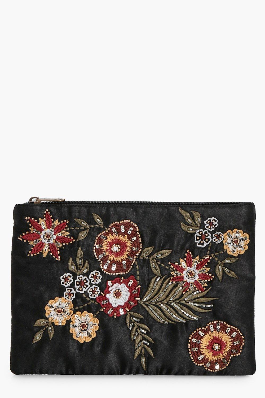 Floral & Bead Zip Top Clutch - black - Alice Flora