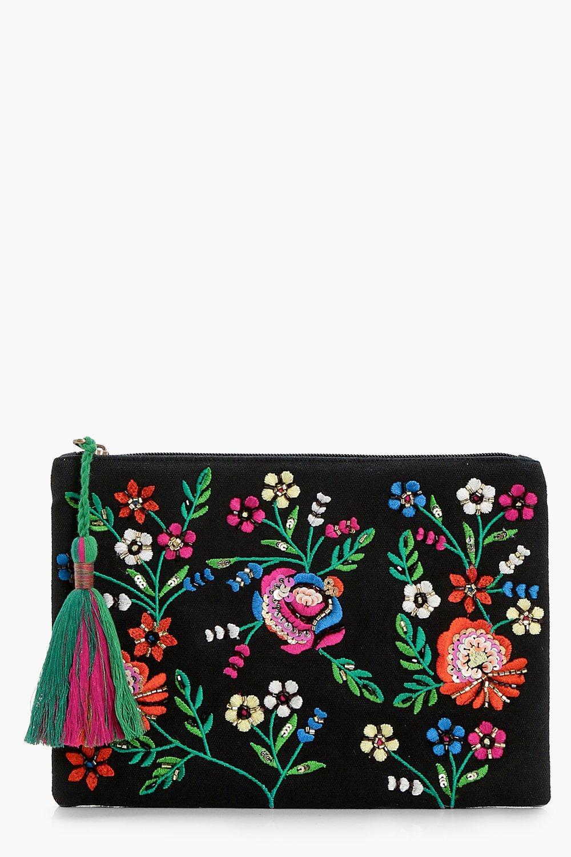 Sequin Floral Zip Top Clutch - black - Kirsten Seq